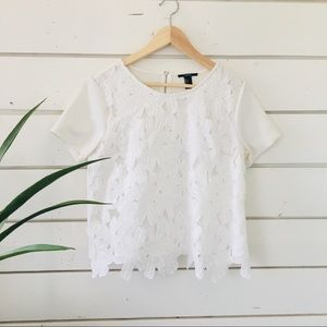 Forever 21-White Floral Lace Layered Shirt